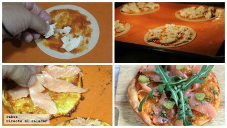 Pizzetas De Salmon:Ingredientes para 2 personas  4 obleas de empanadilla, 1/2 bola de queso mozzarella, 4 cucharaditas de tomate frito, 2 lonchas de salmón ahumado, hojas de rúcula, 2 pepinillos encurtidos, cebollino y aceite de oliva