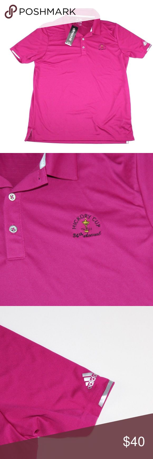 New Adidas ClimaChill Hickory Cup PGA Golf Polo Adidas Hickory Cup ClimaChill Golf Polo  Polo  New  The size is Large and the measurements are 24 inches pit to pit and 30 inches shoulder to base.  Magenta  Polyester  Check out my other items in my store!  L1 adidas Shirts Polos