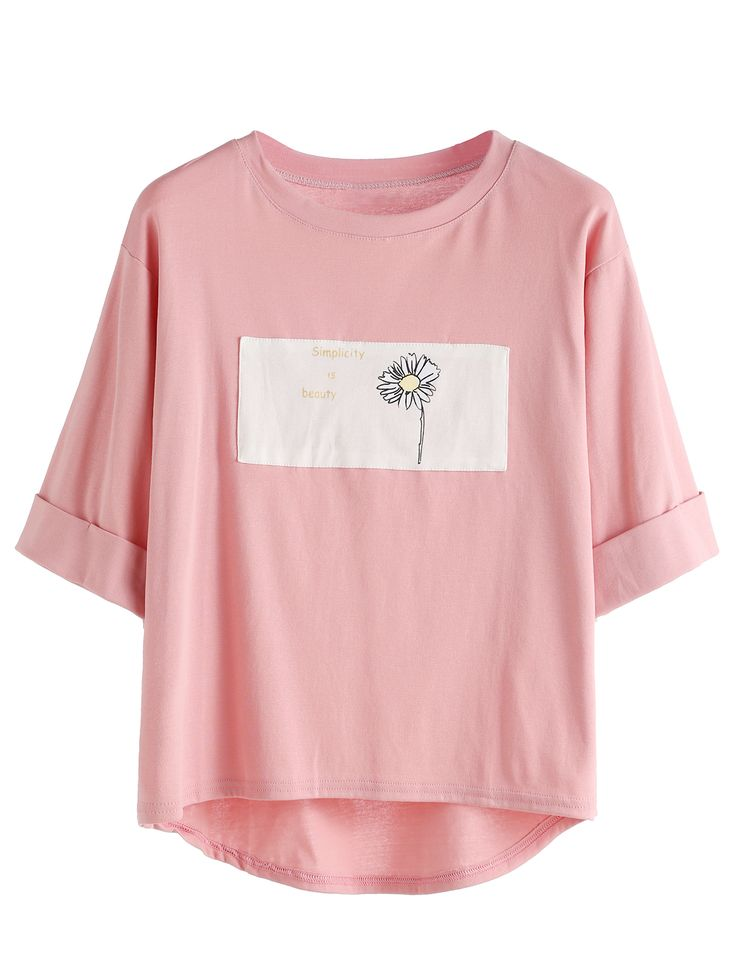 Pink Contrast Daisy Print High Low Cuffed T-shirt Mobile Site