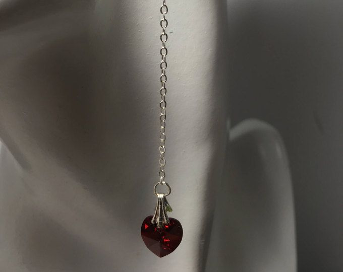 Love Canada, Canada 150, Swarovski Crystal Heart, Long Chain Earring, Duster Sweeper, Anniversary Jewelry, Grad,Prom Earring,Wedding Jewelry