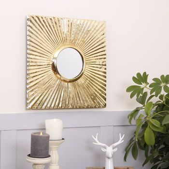 Square Gilt Gold Wall Mirror