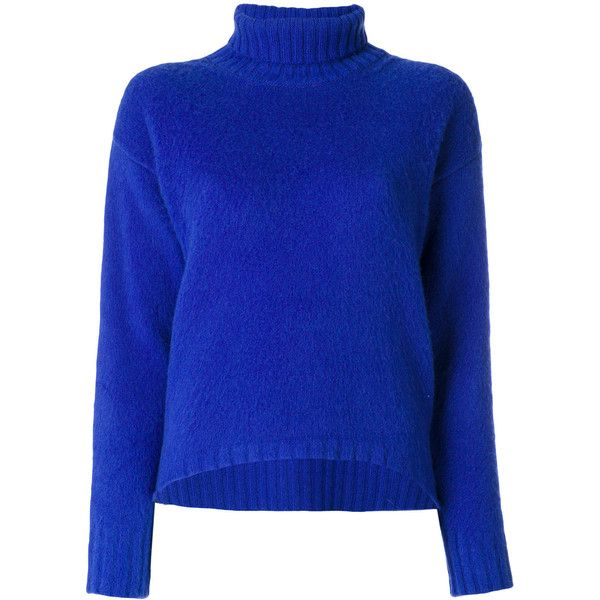 Pierantoniogaspari roll neck jumper ($380) ❤ liked on Polyvore featuring tops, sweaters, blue, roll neck jumper, roll neck top, blue sweater, jumper top and jumpers sweaters