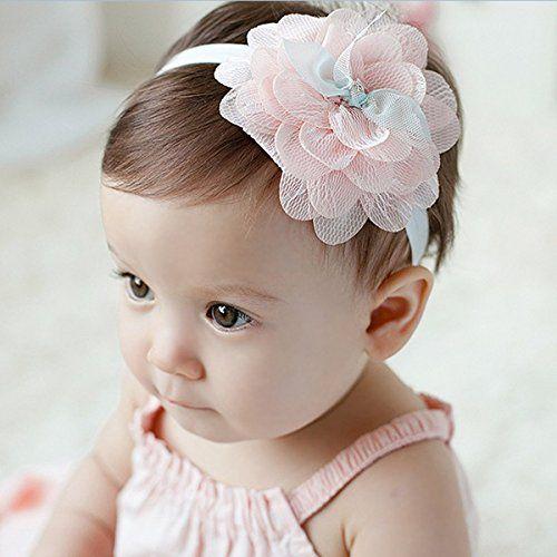 【二つセット】2015年新品♪赤ちゃんもオシャレに♪ ベビー キッズ ヘアバンド レース 可愛いお花 (ピンク)