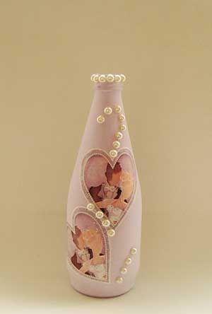 Artesanato com garrafa,Artesanato Passo a Passo, Como Fazer Artesanato,Garrafa de vidro,Decoupage,Casamento                                                                                                                                                                                 Mais