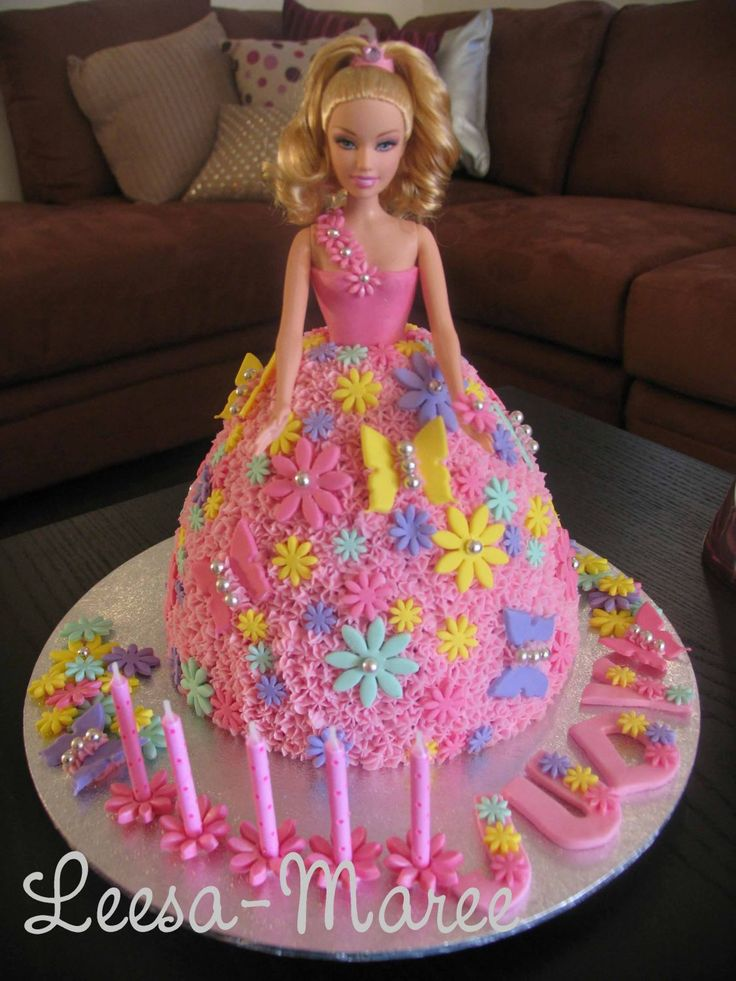 Barbie Birthday Cake - This was a quick cake I did one night for a Birthday. A Dolly Varden tin, pink buttercream and fondant flowers and butterflies. I am fairly new to cake decorating and have only been doing it since April. Thankyou for looking!