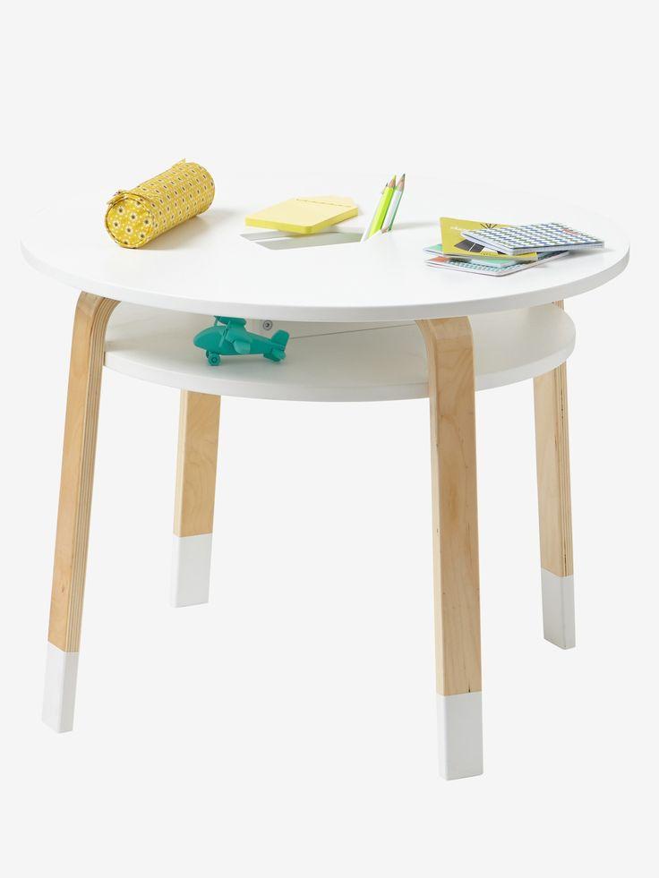 Table de jeu Play blanc/bois - En voilà une petite table de jeu bien pensée ! Avec un pot à crayons au milieu, les enfants peuvent glisser tous leurs outils pour faire de beaux dess