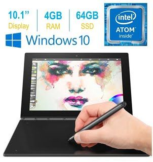 "[Features & Benefits] 2017 Newest Lenovo Yoga Book 10.1"" FHD Touch IPS 2-in-1 Convertible Tablet PC, Intel Atom x5-Z8550 1.44GHz, 4GB RAM, 64GB SSD, Bluetooth, HD Graphics, Windows 10 Home- Carbon Black"