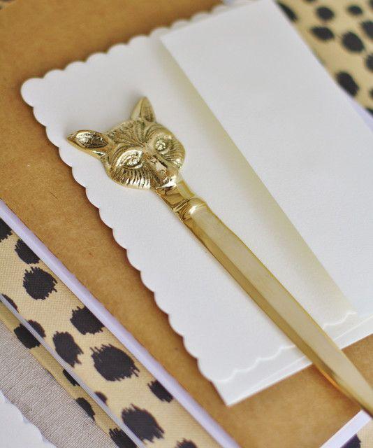 Brass Fox Letter Opener eclectic desk accessories