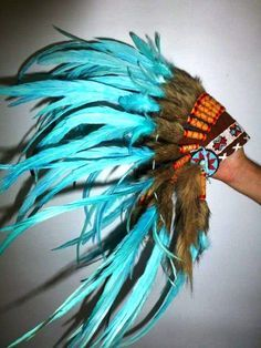 native american headdress tutorial | For Children: Indian all Turquoise Feather Headdress Fun and Original ...