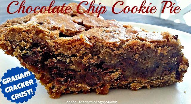 Chocolate Chip Cookie Pie Recipe via Chasethestar.net #chocolatechip #cookie #pie #recipe #dessert