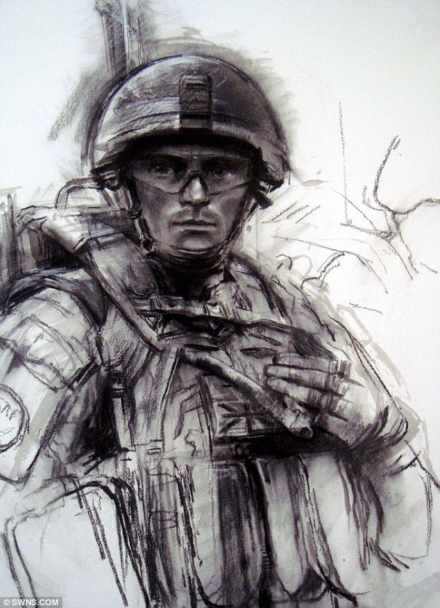 Emotive works of art created by the Royal Marines official War Artist capture the drama and pain of war in Afghanistan