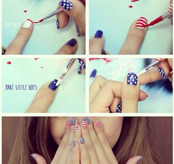@Michelle Flynn Phan forth of july nails , dots and stripes #blue#red