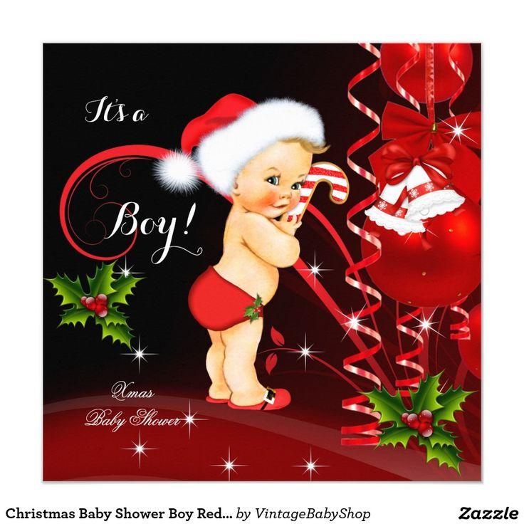 Christmas Baby Shower Boy Red Santa Hat Blonde Invitation