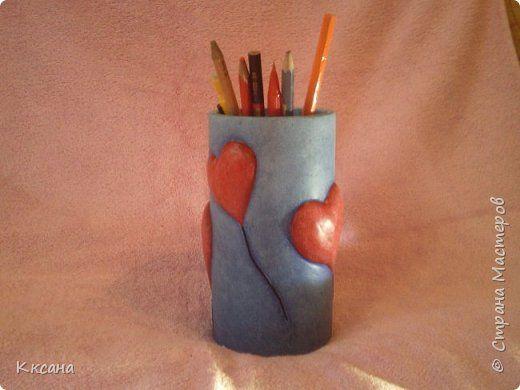 Produs Master-class Meșteșug Ziua Îndrăgostiților Montaj Modelare Papier-mache suporturi pentru creioane hârtie de ziar Zgura vopsea Stivuitoare fotografie lipsit de valoare 1