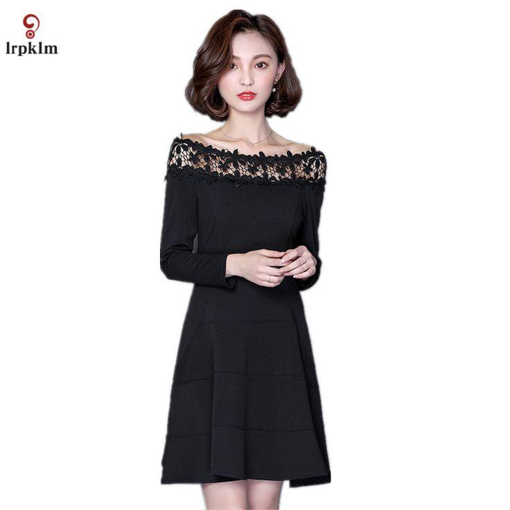 Women Red Lace Dresses Female 2017 Spring Vintage Retro Slash Neck Lace A-line Casual Party Black Dress Vestidos YY683