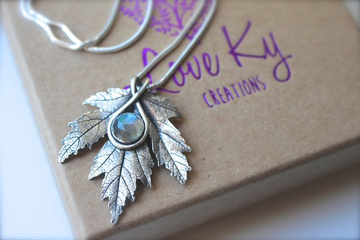 Silver Maple Leaf Necklace with Labradorite by LoveKyCreations on Etsy