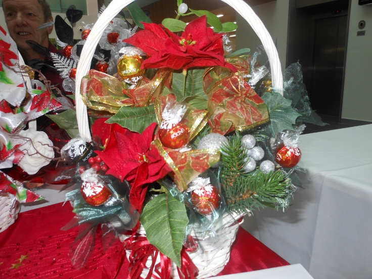 christmas table centre piece with lindt chocolates