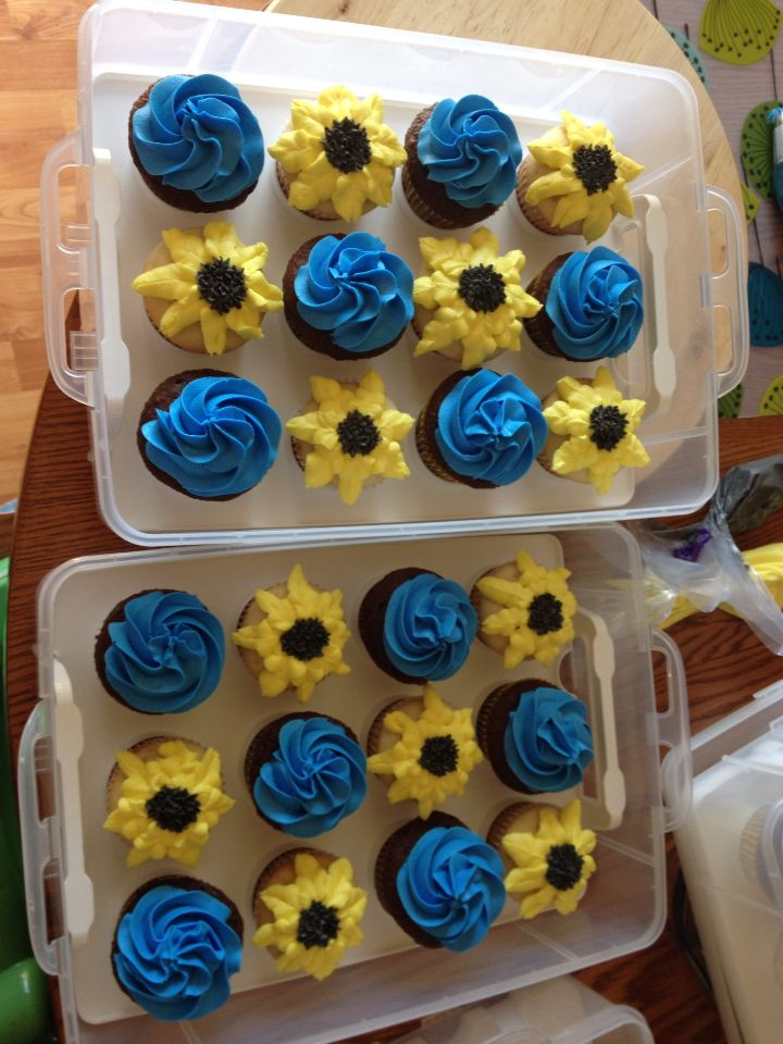 royal blue and sunflower cupcakes bridal shower wedding ideas in 2018 pinterest wedding bridal and bridal shower