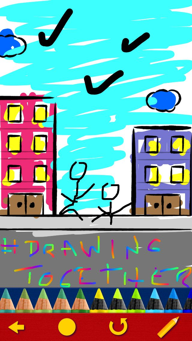 Draw a city, a street, a building, the sky! Draw your very own little world with Drawing Together!