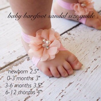 DIY baby barefoot sandals size guide