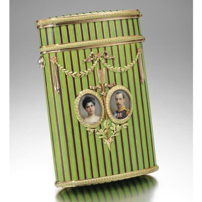 Grand Duchess Elena Vladimirovna and Prince Nicholas of Greece and Denmark: A Fabergé enamel double portrait cigarette case with two-colour gold mounts, workmaster Michael Perchin, St Petersburg, circa 1902