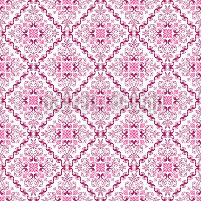 Medieval seamless pattern with tiled optic in pink. Designed by Yasir Ahmed Khan, available as a vector file for download on patterndesigns.com