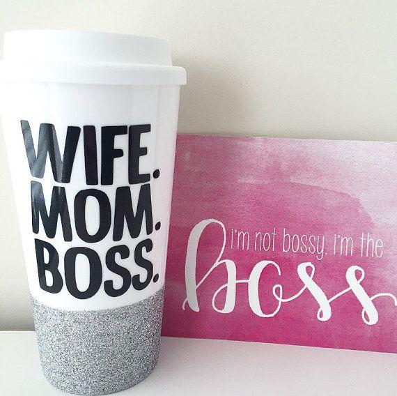 WIFE MOM BOSS Travel Mug Boss Mug Mom mug by ThePinkPolkaDotCC