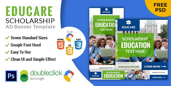 Educare   Education  HTML 5 GWD Animated Google Banner - CodeCanyon Item for Sale
