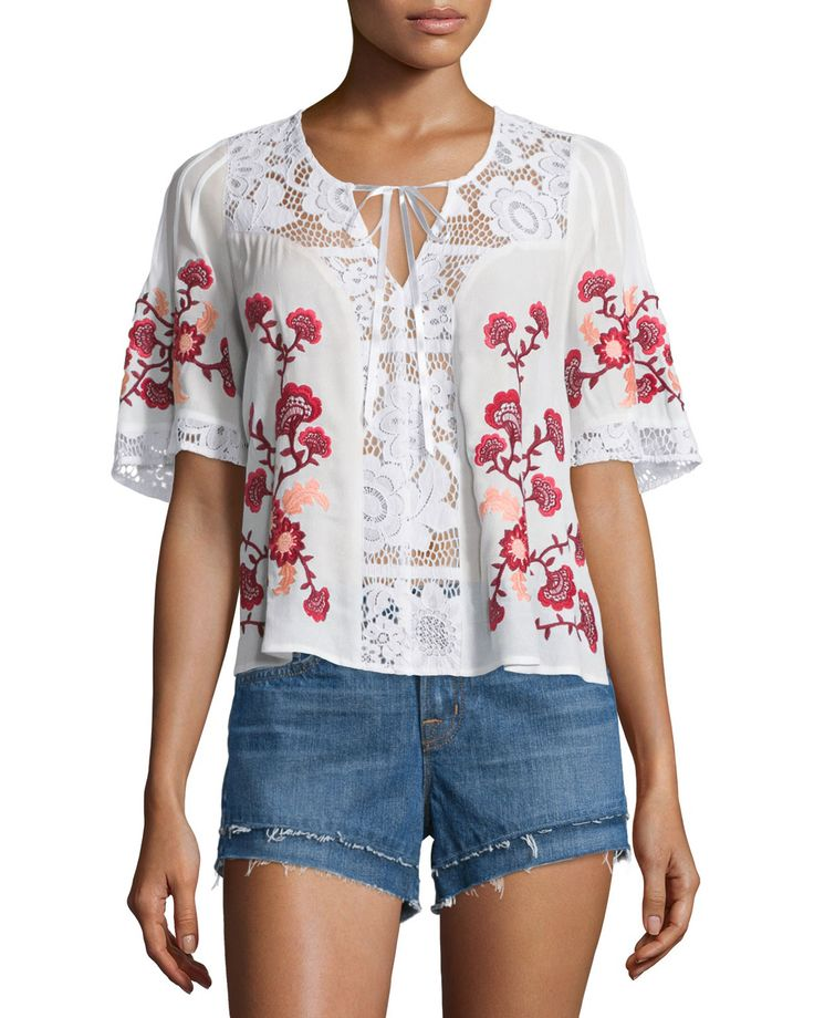 Isabella Lace-Inset Embroidered Top, White, Size: LARGE - For Love & Lemons