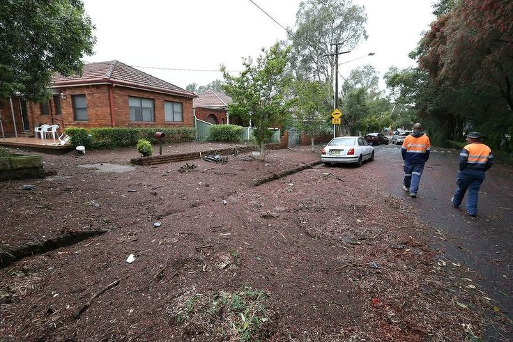 Wild weather hits Sydney. Flooding in Riverside Cres Marrickville 1.