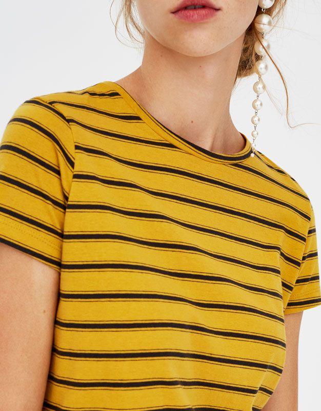 Pull Bear - basic striped t-shirt - dark yellow - 05230320-V2018 ... 2875dfd7dfc