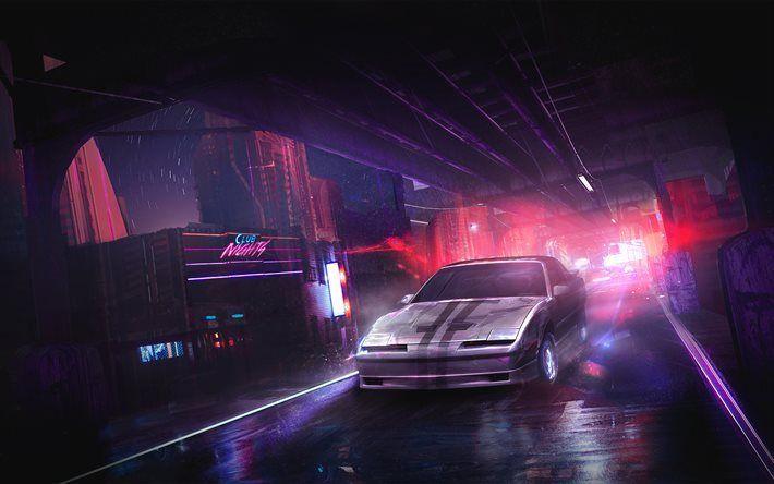 Indir duvar kağıdı gece, şehir, araba, neon ışıkları, yol