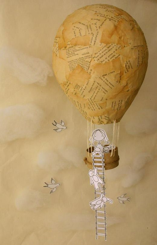 Cute Idea. Tea stained book pages...decopage onto a balloon....slice of a cardboard tube and twine....hand drawn and cut out characters.
