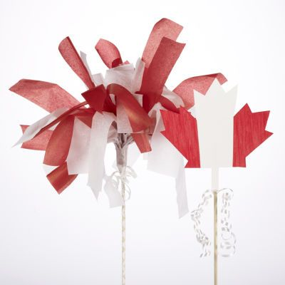 Canada Day Pom Pom  Maple Leaf Stakes - looks like an easy craft for the kids