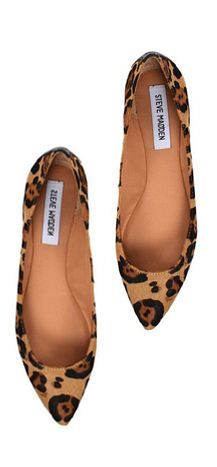 lovely leopard flats! i have such a hard time finding the pointed-toe flats!   steve madden