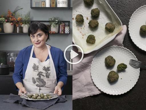 Polpette agli spinaci con lenticchie e limone