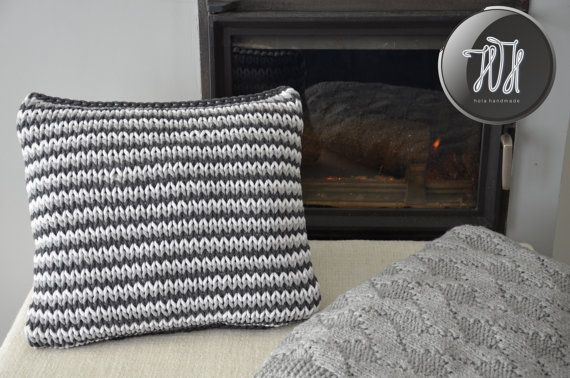 Handmade knitted pillow white gray and dark gray by HolaHandmade