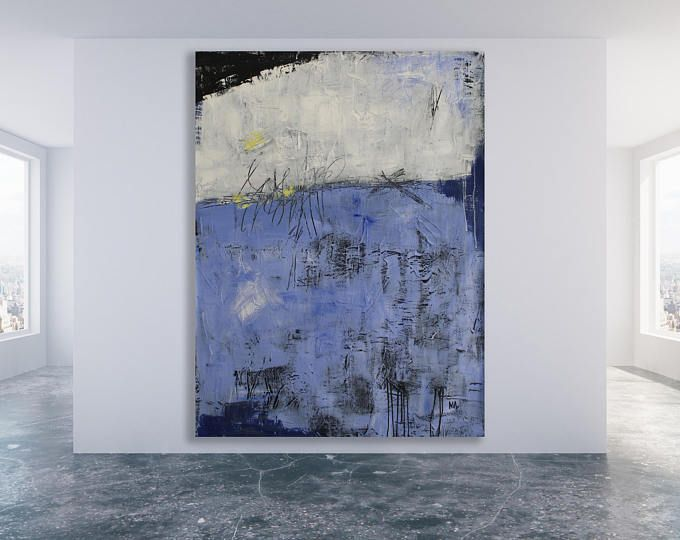 Extra Large Blue Textured Abstract Painting / Modern Art / Blue Abstract Art / Blue and White Art / Original Art