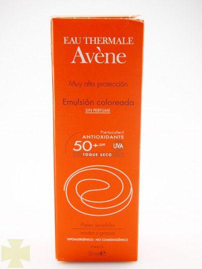 Avene SPF 50+ Crema Color Toque Seco es un protector solar especialmente indicado para pieles sensibles y claras protegiendo la piel de problemas y enfermedades cutáneas. http://laboticademon.com/avene-emulsion-coloreada-spf-50-muy-alta-protec-toque-seco-oil-free-sin-perfume-50-ml.html