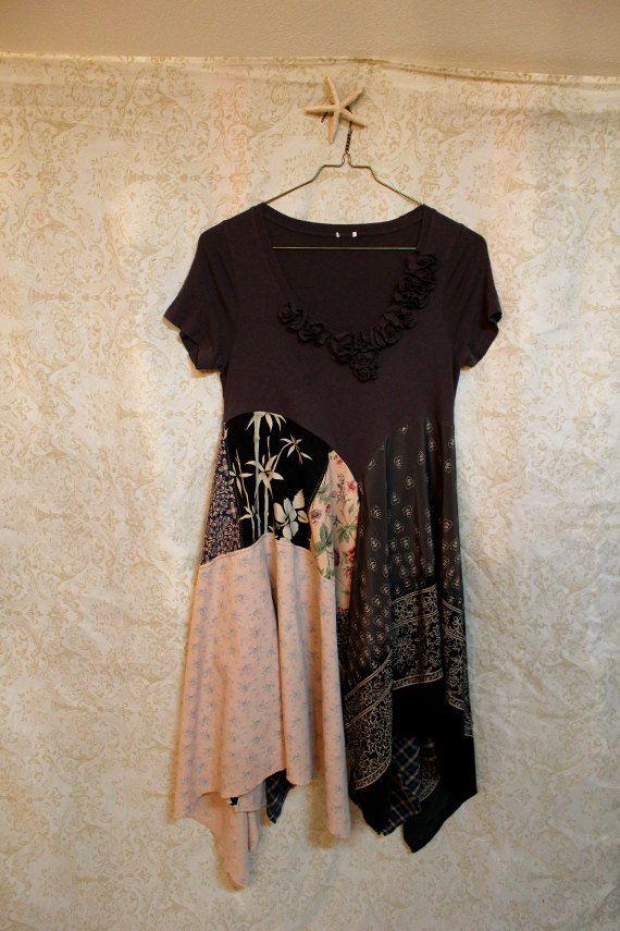 Boho Knit Shirt, Shabby Chic Romantic, Bohemian Junk Gypsy Style, Mori Girl, Lagenlook