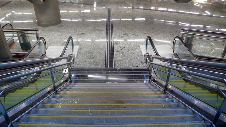 New entrance and ladder at Puerta del Sol Commuter train station at the heart of madrid