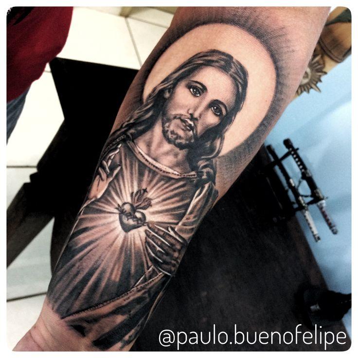 Tattoo Jesus Cristo  Artista Paulo Bueno @paulo.buenofelipe  Psychedelic Tattoo  Rua Agenor Meira 9-07 Bauru SP