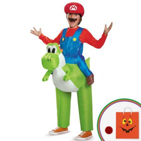 Super Mario Bros: Ride a Yoshi Inflatable Child Costume Kit with Free Gift, Boy's, Size: Standard One-Size, Multicolor