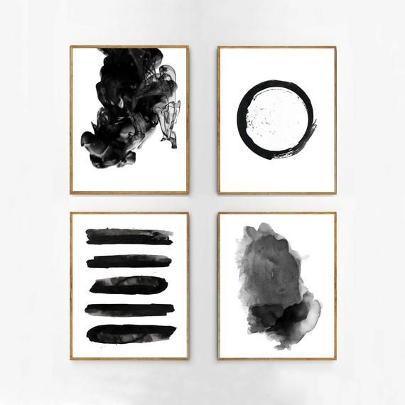 Black White Wall Art Abstract Prints Set Watercolor Paintings Gray