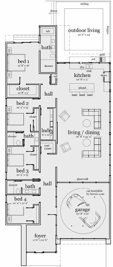 Plano de casa moderna con frente vidriado, 4 dormitorios y 243 mts2 | Planos de casas