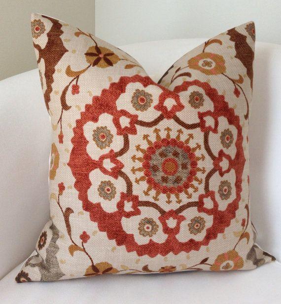 Decorative Pillows For Fall : Suzani Pillow, Fall Pillow Cover, Brown Orange Pillow, Throw Pillow, Cushion, Accent Pillow ...