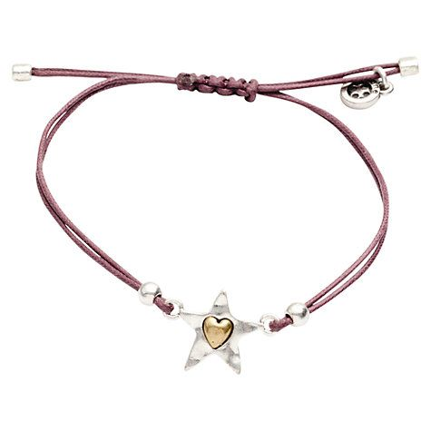 Buy One Button Silver Star and Heart Cord Bracelet Online at johnlewis.com