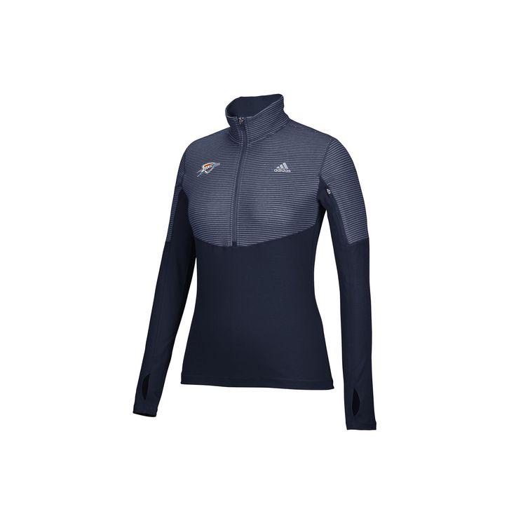 Women's Adidas Oklahoma City Thunder Team Logo 1/2-Zip Pullover, Size: Medium, Blue (Navy)