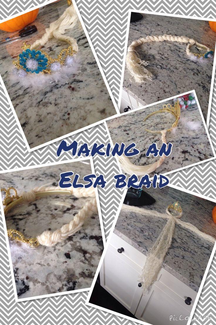 Super easy Elsa braid. Use yarn, an existing tiara, hot blue, and winter glittery things :)