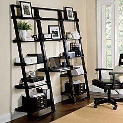 Ladder Book Shelves - Home office desk for apartment living.